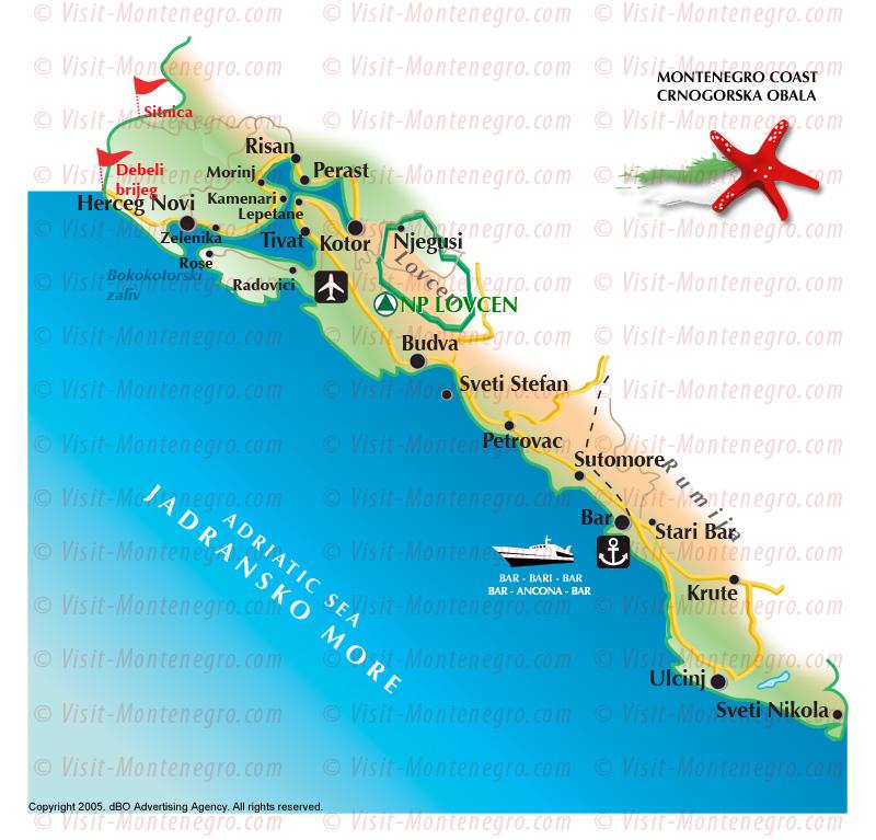 obala crne gore mapa Crna Gora   mape obala crne gore mapa
